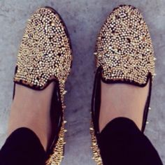 Gold studded smoking flats