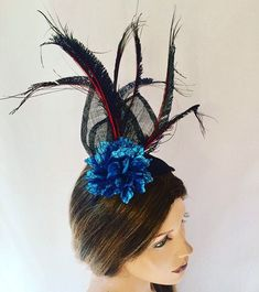 Excited to share this item from my shop: Black peacock fascinator black red floral fascinator unique headpieces red flower fascinator headpiece unique headpiece,fascinator Floral Fascinators, Flower Headpiece, Black Fascinator, Black Headband, Feather Hat, Turquoise Flowers, Big Flowers, Peacock Feathers, Headpieces