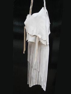 Long Deerskin Leather Fringe Bag