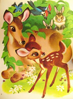 a page from a vintage Bambi book