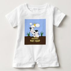 Friends Not Food - Cute Cow Pig and Chicken Baby Romper - vegan personalize diy customize unique