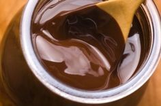 Instant Chocolate Sauce! Make this delicious chocolate sauce in 2 minutes flat. It's a Paleo, gluten-free, and diabetic friendly topping for ice cream, pancakes, cheesecake, poached pears, or just about anything. Smooth, creamy, and luscious, try it on the Chocolate Pudding Cake!  #paleo #desserts