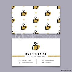 Nutritionist business card, dietitian, Modern hipster minimal design. Vector graphics marker hand drawn, Trendy symbol apple, Gold and black elements on a white background, Unusual artwork