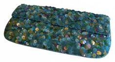 Aqua Pool Confetti Beaded Bling Evening Bag  Clutch Purse  $18.99 with FREE SHIPPING    OFFICE PARTY MUST HAVE