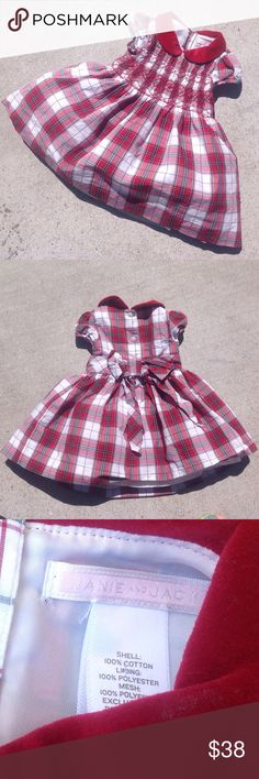 Janie and Jack Plaid Smocked Dress - 6-12 Months Red, black, gray and white plaid, smocked, velveteen collar, button closure bow, lined, petticoat, short sleeves. Shell 100% Cotton, Lining 100% Polyester, Mesh 100% Polyester. New condition Janie and Jack Dresses