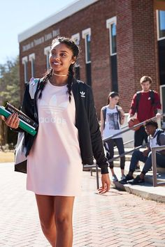 Back to school outfit inspiration! Set trends in the adidas Trefoil Pink Tee Dress and Track Jacket.