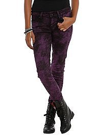 HOTTOPIC.COM - LOVEsick Purple Acid Wash Skinny Jeans