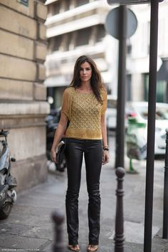 Black & Gold. Beads & Leather. The cut of those pants, Amazing!