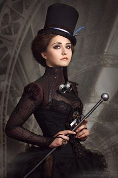#steampunk with a #Goth girl flare
