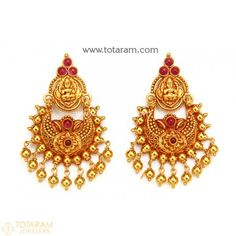 New Arrivals - Latest gold and diamond jewelry collection - Totaram Jewelers Online Jewelry Design Earrings, Gold Earrings Designs, Necklace Designs, Diamond Jewelry, Gold Temple Jewellery, Gold Jewelry, Beaded Jewelry, Jewelery, Chand Bali Earrings Gold