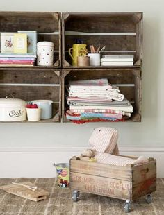 Vintage wood crates as shelves and with casters