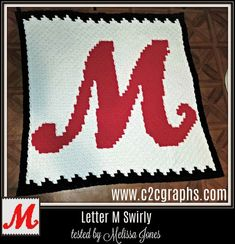 Letter M Swirly Afghan, 3 color, Graph, and Written Word Chart Fillet Crochet, C2c Crochet, Free Crochet, Crochet Letters, Black And White Words, Corner To Corner Crochet, Crochet Designs, Crochet Ideas, Letter Patterns