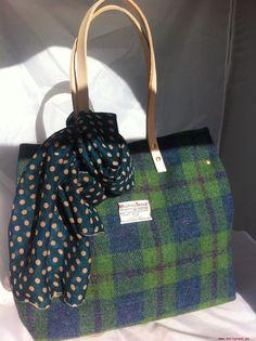 Verde Azul Harris Tweed Bolso Regalo para Mujer Escocés Tartán Bolso de manover título original Bolsos de mujer o7cKJbtJ