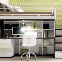 Multifunctional Loft Bed with Computer Desk Under Bed and White Shelves For Small Bedroom Space Saving a part of Multifunctional Loft Bed Wi...