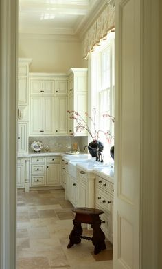 Kitchen - Christy Dillard Kratzer.  Cabinets - Mayonnaise - Benjamin Moore.  Custom cabinets with light glaze to give definition.  Artistic - Alanta, GA.  Backsplash and Cabinet tops - French vanilla marble or could use Calcutta Gold.