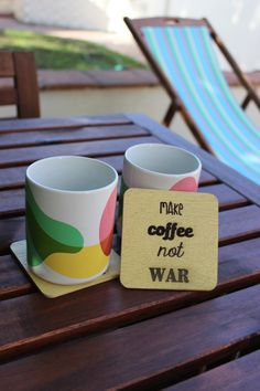 Make coffee not war; Set of 4 quirky, yellow coasters by CutOutsProductDesign on Etsy Coasters, Mugs, Coffee, Yellow, Tableware, How To Make, Etsy, Kaffee, Dinnerware
