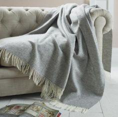 Grey Herringbone Wool Throw On Light Coloured Chesterfield Sofa Alpaca Blanket Merino