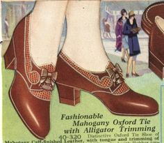 1920s Brown Leather Oxford Trimmed in Alligator with Low Cuban Heel http://www.vintagedancer.com/1920s/history-of-1920s-fashion-shoes/