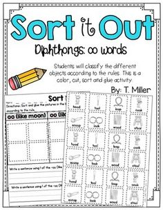 OO (like book and moon) sound sort This activity is a sorting activity. Students look at the picture or photograph and put the picture or photograph on the correct side of the mat.Worksheet also includes a challenge: write a word that has the OO sound in a sentence.