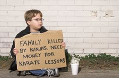 """Pin for Later: 20 Stock Photos of Kids That Missed the Mark What's the appropriate punishment for this? So wrong. On so many levels. And the caption? Simply """"karate lessons."""""""