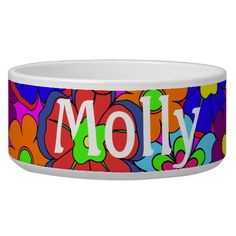 Hippy Retro Flowers Dog Food Bowls - $29.95 - Hippy Retro Flowers Dog Food Bowls - by #RGebbiePhoto @ zazzle - #hippy #retro #flower - Colorful retro style flowers, hippy style in bright colors! Large petal flowers in a jumbled assortment. 70s Hippy look, great throwback item!