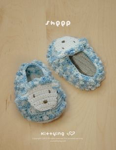 Sheep Baby Booties Crochet Pattern by Kittying.com