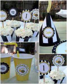 Baby girls next party! Bee Yellow Black White Girl Essentials Birthday by PartySoPerfect, $25.00