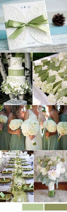 sage green and white wedding color ideas and laser cut wedding invitations