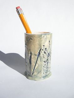 Blue and Cream Pressed Flower Ceramic Pencil Holder by SlashofBlue, $20.00