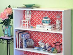 Paper Back Bookcase Banish blah bookshelves with a cut-and-paste transformation. Measure the inside backs of your shelves and cut decorative...