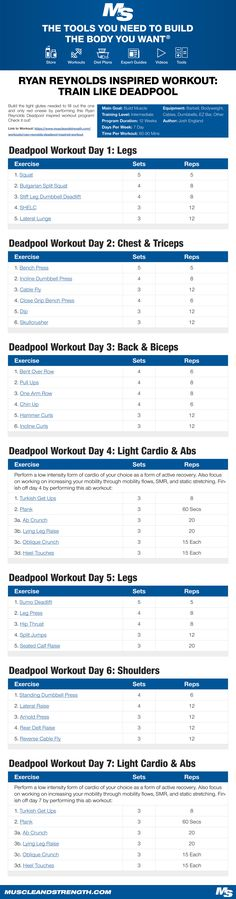 (Click through to download PDF!) Build the tight glutes needed to fill out the one and only red onesie by performing this Ryan Reynolds Deadpool inspired workout program! Check it out!