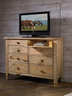 Kincaid Homecoming Solid Wood Media Bureau In Vintage Pine 33 161