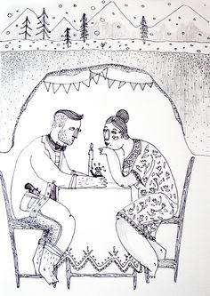 Lovely couple! http://borislavaaaawillmadeit.tumblr.com/ #sketch #winter #dinner #lovers