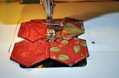Moda Lissa: Sewing paper pieced hexagons by machine tutorial