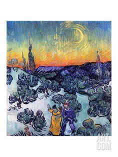 Evening Promenade Print by Vincent van Gogh at Art.com