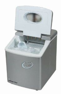 Magic Chef Portable Ice Maker in Silver - compact countertop size ice maker makes up to 27 lbs. of ice in 24 hours.