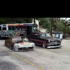 My 50 ford next to Bob's 50 ford great custom Hot Rod
