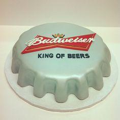 Budweiser Cap Birthday Cake Austin Customcake Polkadotscupcakefactory Groomscake