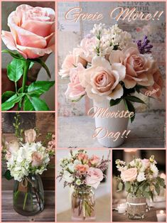Afrikaanse Quotes, Goeie More, Good Morning Wishes, Table Decorations, Flowers, Africa, Collage, Christian, Messages