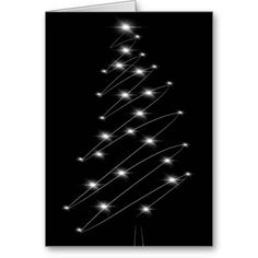 Christmas Tree Minimalist Christmas Card design in Black and White.