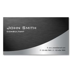 Professional Metal Elegant Modern Plain Black Double-Sided Standard Business Cards (Pack Of 100)