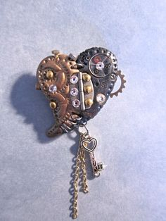 Funky Mixed Media Steampunk Polymer Clay Heart Key Gears Chain Vintage Watch Parts Brooch