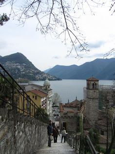 Lake Lugano, Switzerland - ran up and down some stairs just like these - lovely place!