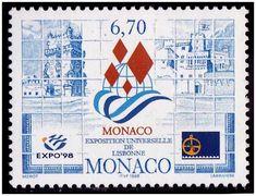 Selos - Expo 98 - Selo do Mónaco. - 1998 - Mónaco - Emissão alusiva à Expo 98 de Lisboa