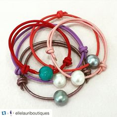 Colorful Pearl and leather bracelets