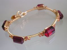 Gemstone Stackable Bangle Chunky Gold Filled by bellajewelsII