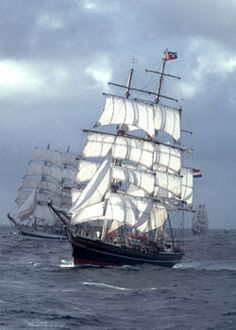 portland maine tall ships | Square riggers racing under sail in open ocean with clouds in ...
