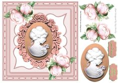 pretty cameo lady with peach roses in ornate frame, makes a pretty card, can be seen in other colours