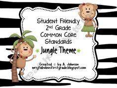 2nd Grade Common Core Posters - Jungle Theme