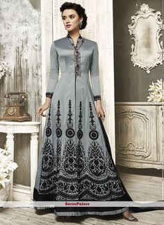 Versatile Tafeta silk Embroidered Work Floor Length Anarkali Suit